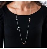 MORELLATO SAHL01 Natura dames halsketting in zilver en rosé kleurig edelstaal met kristallen