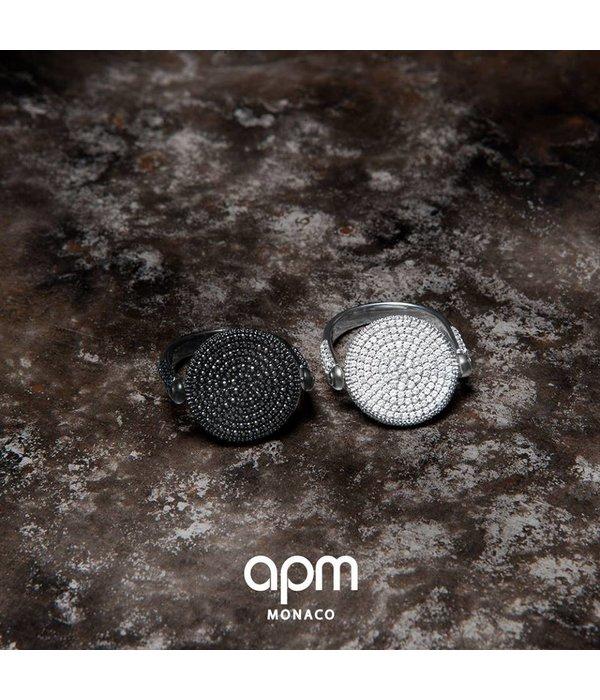 APM MONACO A17296BZX Luna bague en argent avec des cristaux noirs et blancs
