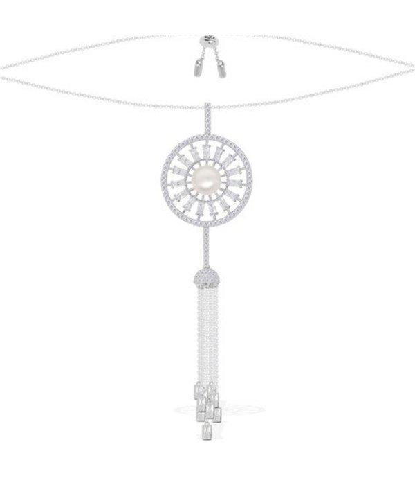 APM MONACO AP10067XPL Pomeline Halskette in Silber mit Kristallen und Perlen
