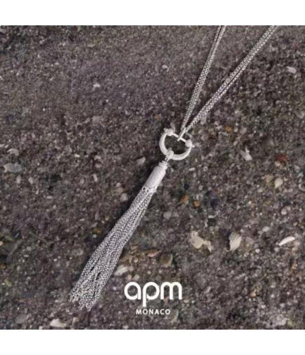 APM MONACO Collier AP10068OX Talisman en argent avec cristal