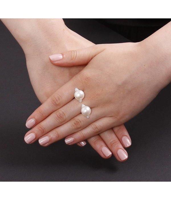 APM MONACO Perles A16511XPL ring in zilver 925% met kristallen en parels