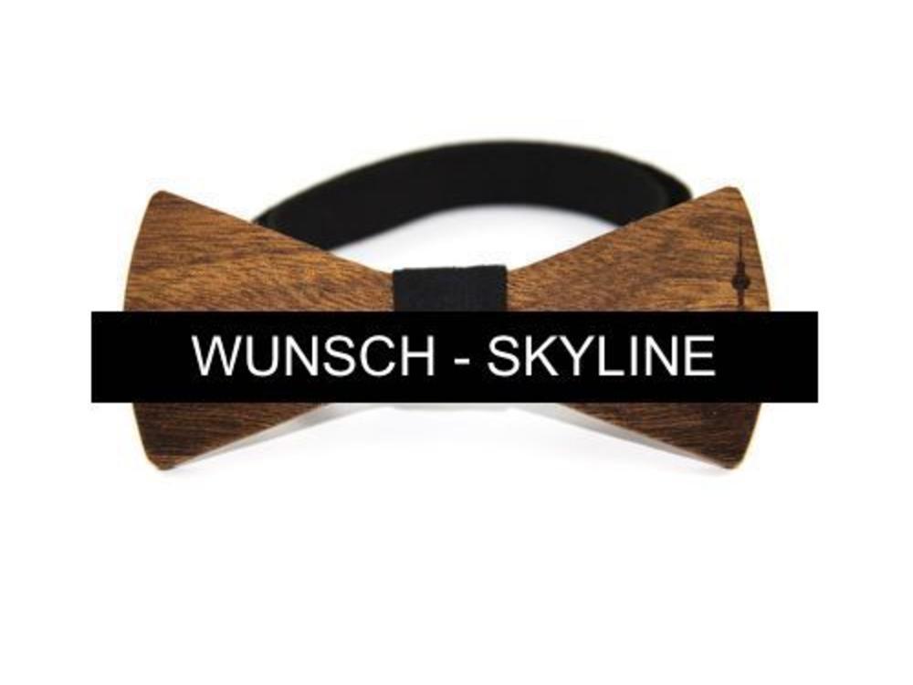 Bewoodz Holzfliege mit Skyline deiner Wahl