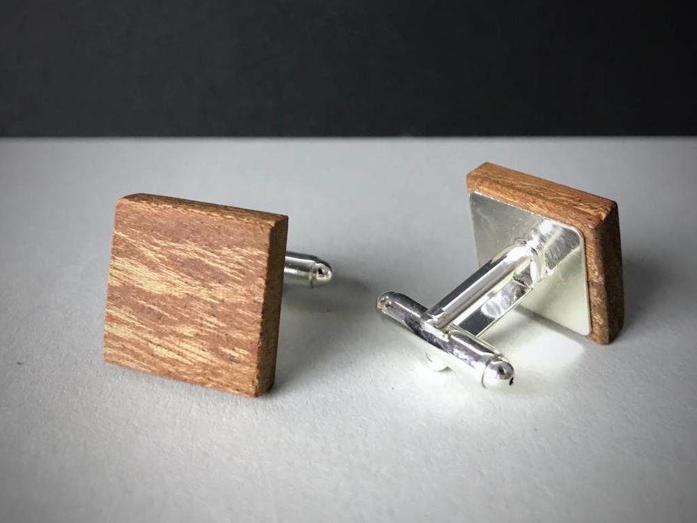 Manschettenknöpfe Holz 'Minimalism Square'