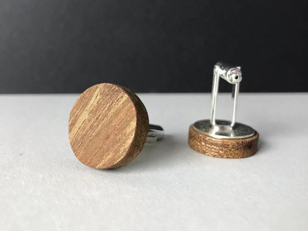Manschettenknöpfe Holz 'Minimalism Perfectly Round'