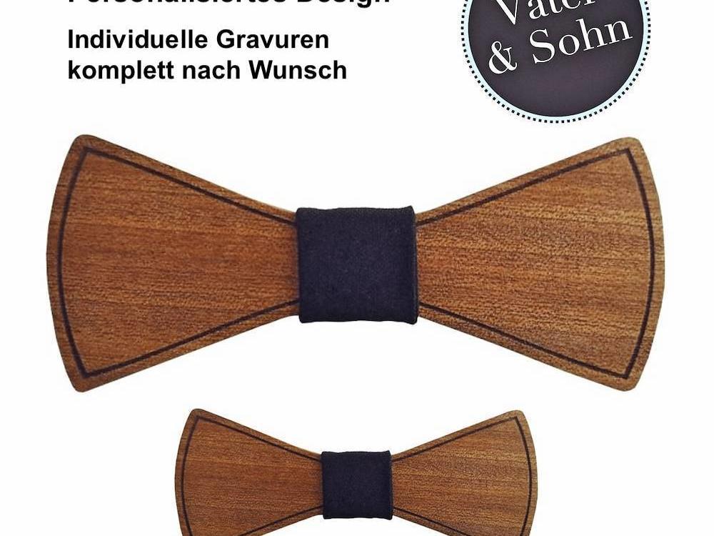Holzfliegen Set Vater & Sohn - Individuelles Design