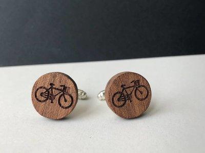 Bewoodz Manschettenknöpfe Holz & Edelstahl 'Urban Cycling Round'