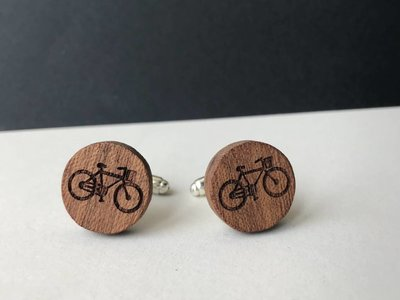 Bewoodz ® Manschettenknöpfe Holz 'Urban Cycling Round'