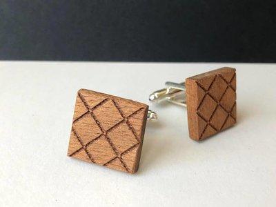 Bewoodz Manschettenknöpfe Holz 'Geo-Muster'
