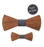 Holzfliege Vater & Sohn Navy Stripes