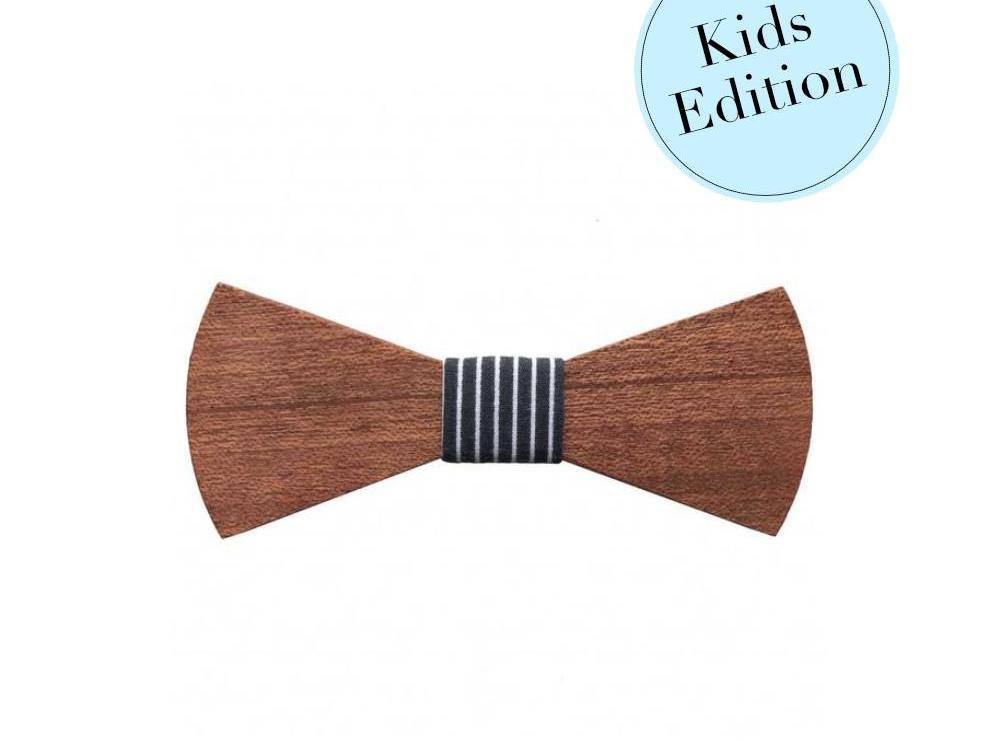Bewoodz Holzfliege Kinder - Navy Stripes