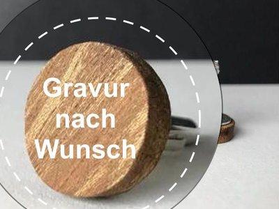 Manschettenknöpfe Holz Rund mit Gravur