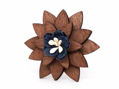 Brosche Holz - Holzbrosche 'Fleur'