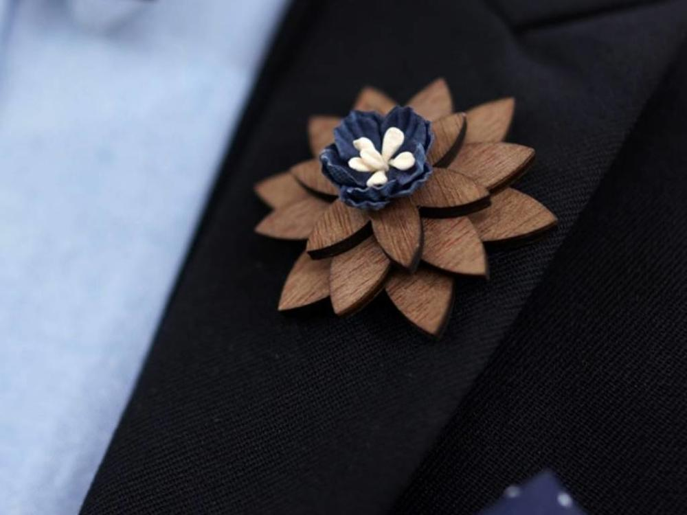 Brosche Holz - Holzbrosche 'Fleur'  |  Holzschmuck Damen