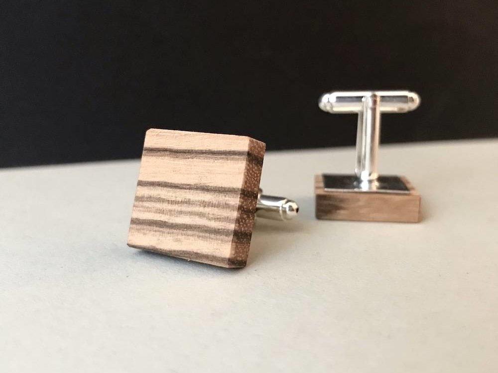 Manschettenknöpfe aus Holz 'Matthew' - Zebrano Holz
