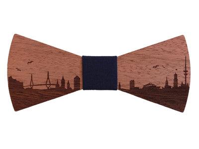 Bewoodz ® Fliege aus Holz - Hamburg Skyline