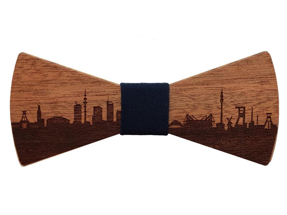 Holzfliege Ruhrgebiet Skyline - Fliege aus Holz