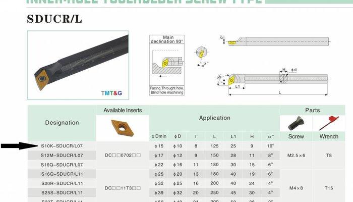 Bohrstange S10K-SDUCR 07 für Innendrehen