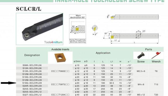 Bohrstange S16Q-SCLCL 09 für Innendrehen