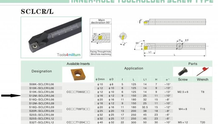 Bohrstange S12M-SCLCL06 für Innendrehen
