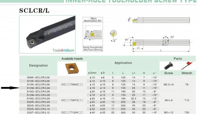 Bohrstange S12M-SCLCR06 für Innendrehen