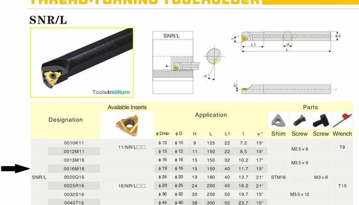 Bohrstange Innengewinde SNR0016 Q16 für Innenstrehlen