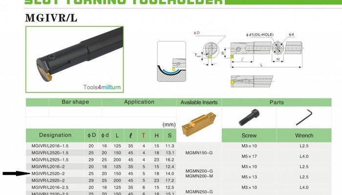 Bohrstange Innenstechen MGIVR 2520-2 zum Inneneinstechen
