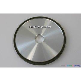 Diamantschleifscheibe D125 x T10 x X4 x H22,2mm Form RW100 1A1
