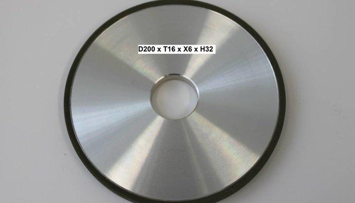 Diamantschleifscheibe D200 x T16 x X6 x H32mm Form RW100 1A1