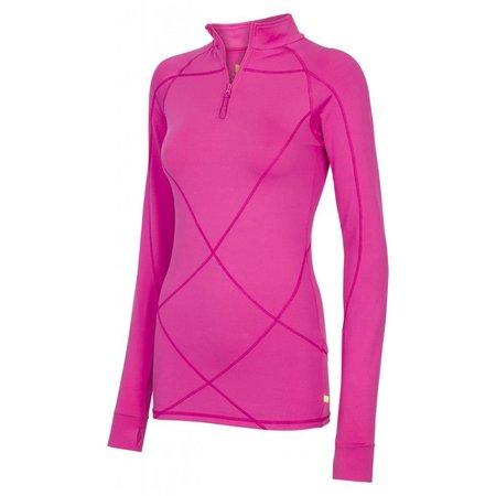 Pure Lime Ladies shirt long sleeve 1/2 zip Intense pink