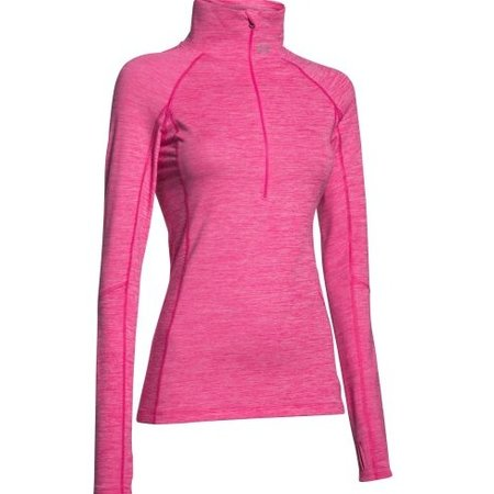 Under Armour Ladies running shirt printed Cozy half zip pink