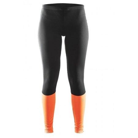 Craft Dames hardloopbroek Brilliant Thermal tight zwart/oranje