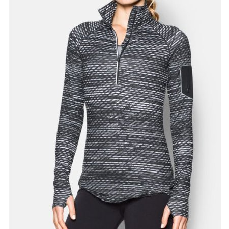 Under Armour Women's Running Shirt Fly Fast Printed 1/2 zip - Black/white