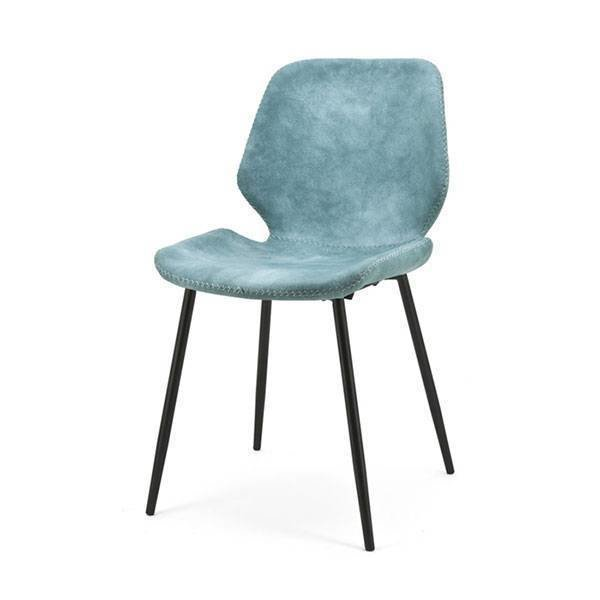 By-Boo Blauwe Eetkamerstoel Seashell - 46x58xH84 cm