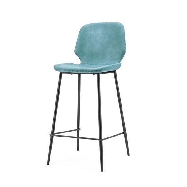By-Boo Blauwe Barstoel Seashell - 42x51xH94 cm