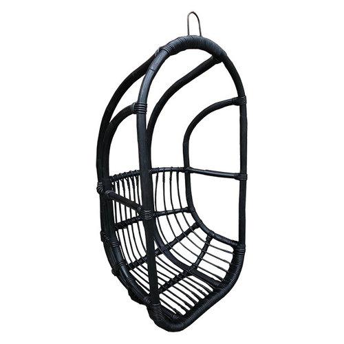 Sweet Living Zwarte Rotan Hangstoel - 67x63xH125 cm