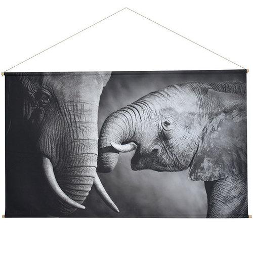 Sweet Living Elephants Schoolplaat Zwart Wit - 150xH90 cm