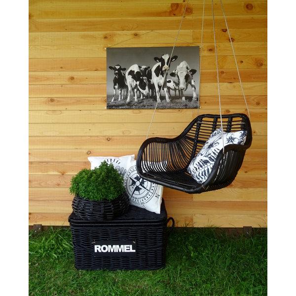 Rotan Hangstoel Zwart.Fly Hangstoel Zwart Rotan 66x65xh49 Cm Houss Nl
