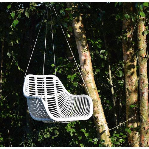Sweet Living Fly Rotan Hangstoel Wit - 66x65xH49 cm