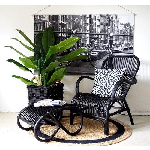 Sweet Living Rotan Loungestoel Zwart - 67x80xH86 cm
