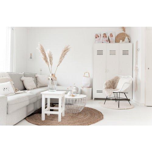 Sweet Living Kuipstoel Tess Wit Rotan - 65x55xH80 cm