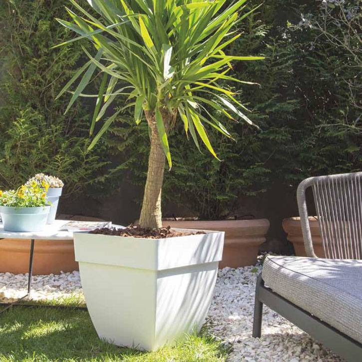 Ikala Grote vierkante plantenbak wit L45xB45xH45 Monaco