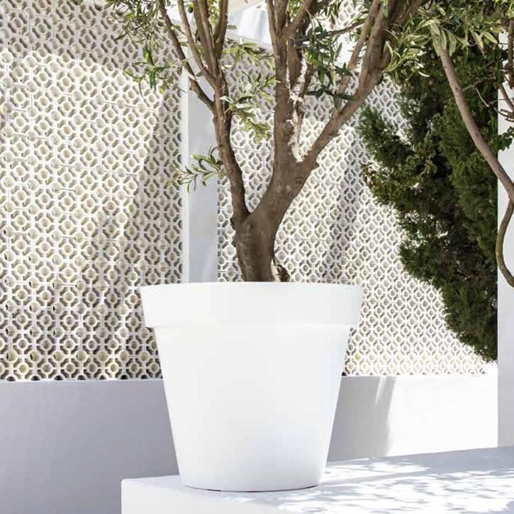 Ikala Grote kunststof bloempot wit D60xH50 Monaco