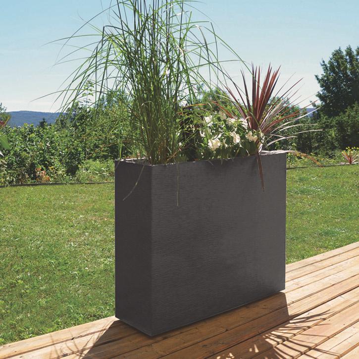 Ikala Hoge plantenbak voor buiten en binnen 100 cm | Antraciet | Ripple