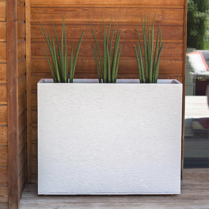 Ikala Hoge plantenbak voor buiten en binnen 100 cm | Wit | Ripple