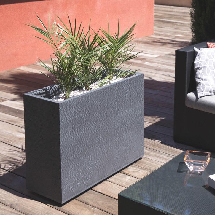 Ikala Hoge plantenbak voor buiten en binnen 80 cm | Antraciet | Ripple