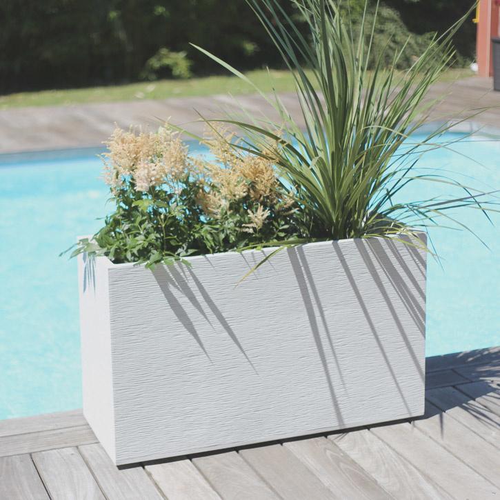 Ikala Grote plantenbak voor buiten en binnen 100 cm | Wit | Ripple