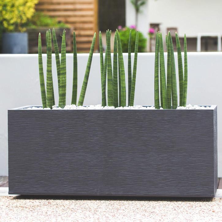 Ikala Rechthoekige plantenbak voor buiten en binnen 100 cm | Grijs | Ripple