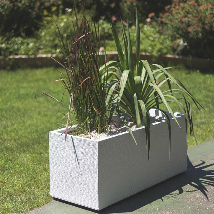 Ikala Rechthoekige plantenbak voor buiten en binnen 100  cm | Wit | Ripple