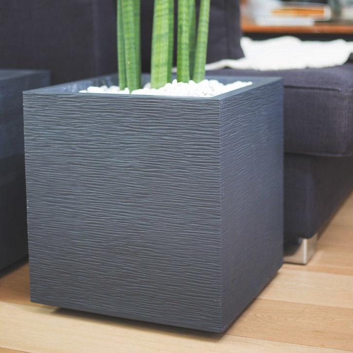 Ikala Vierkante plantenbak voor binnen en buiten 40x40x40cm | Grijs | Ripple