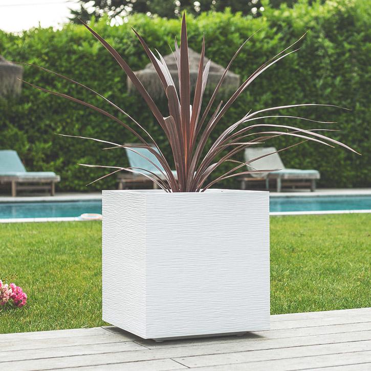 Ikala Vierkante plantenbak voor binnen en buiten 40x40x40cm | Wit | Ripple